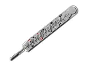 MERCURIAL THERMOMETER (36,6) ISOLATED