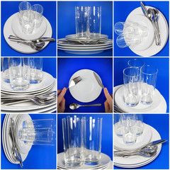 Collage of glasses, plates, covers on blue background