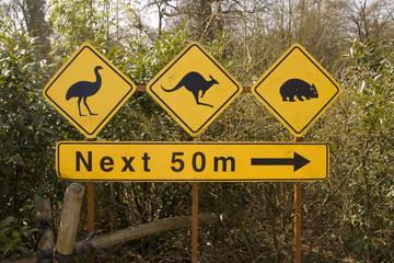 Australisches Hinweisschild in Nahaufnahme