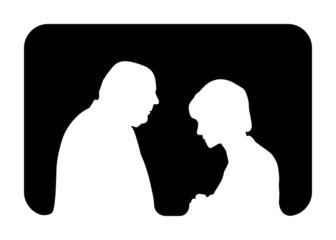 Confessione - Silhouette bianca su nero