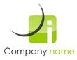Logo i coin arrondi arc vert gris