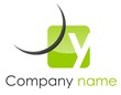 Logo y coin arrondi arc vert gris