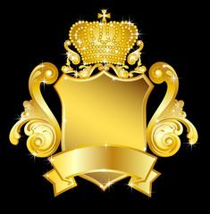 goldenes wappen mit krone