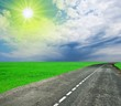 road leaving far under a sparkle sun