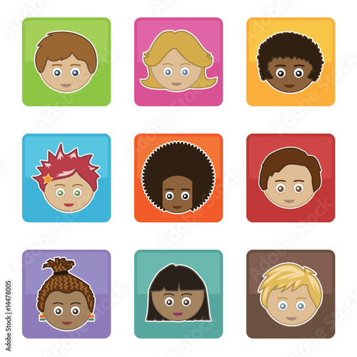 square icons with children's faces