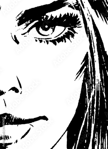 Beautiful Woman's Face Vector 01