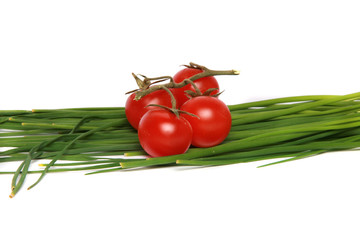 red tomatoes with fresh onion