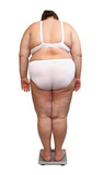 women with overweight from behind on scales poster