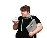 dieting overweight women with cake poster