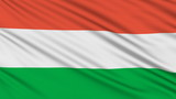 Hungarian flag, with real structure of a fabric poster