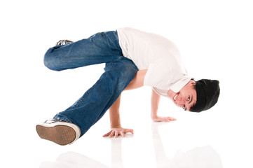 Smiling breakdancer