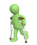 Invalid with crutches poster