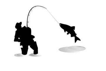 Silhouette of fisherman with salmon