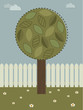 landscape background with tree and picket fence