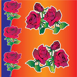 Beautiful red roses on a orange background