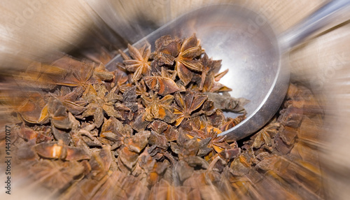 Wholesale spices of star anise at local market