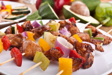 chicken and vegetables kebabs