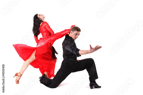 dancer in action isolated on white