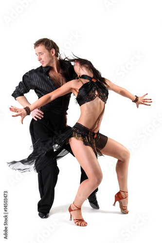 dancers in action isolated on white