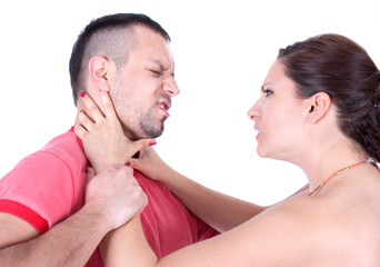 Angry wife from front try to strangle unfaithful husband