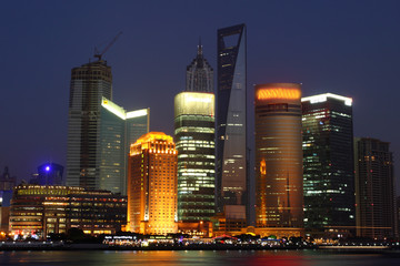 Economic Center of China - Night View of Shanghai