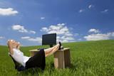 Fototapety Woman Relaxing In a Green Office