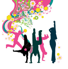 Silhouette of young people. Floral background.