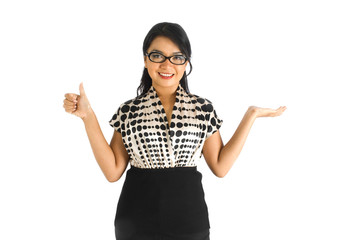 Corporate figure lady with thumbs up sign