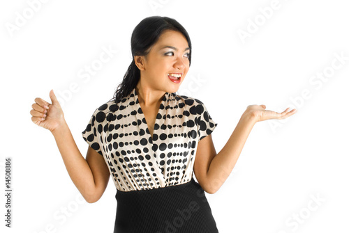 Asian business female with thumbs up