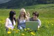 Junge Leute mit Laptop in freier Natur