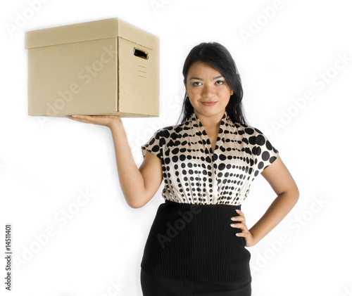 Asian lady with brown box, holding up