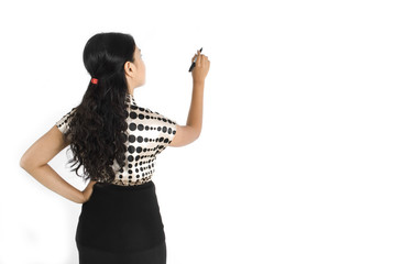Asian business lady writing with marker, back shot