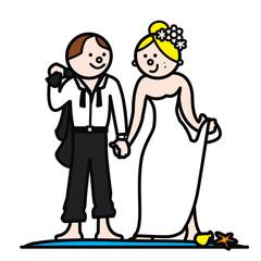 newlyweds at beach on honeymooon