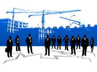 Illustration of people and building site