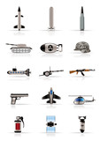 Realistic weapon, arms and war icons - Vector icon set poster