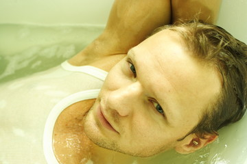 a man in the bath