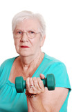 Active senior with free weight poster