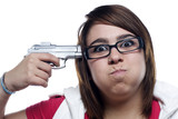 Young woman about to shoot herself poster