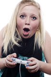 Young blonde girl playing video games poster