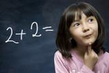 Schoolgirl stay near school blackboard. poster