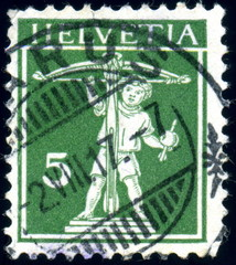 Helvetia. Suisse.. Guillaume Tell. Timbre Postal.
