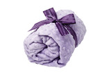 lavender, rolled up towel, blanket, purple ribbon