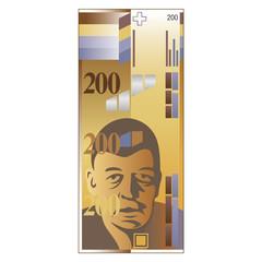 Schweizer Banknote 200 Franken