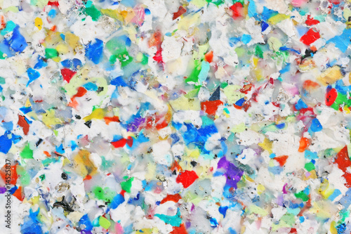 Leinwandbild Motiv Bunte Platte aus recyceltem Kunststoff