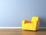 Fototapety interior design yellow armchair on blue wall
