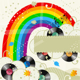 Rainbow and vinyl records music background or disc cover