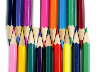 Circle of multicolored pencils