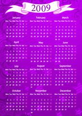 European pink floral calendar