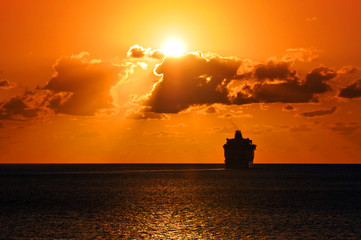 Cruise Ship Sailing Into Sunset