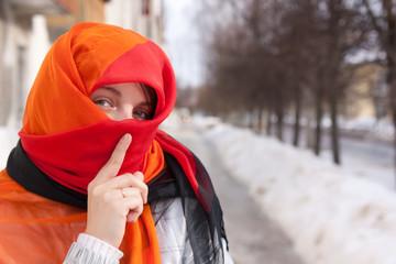 girl in red purdah